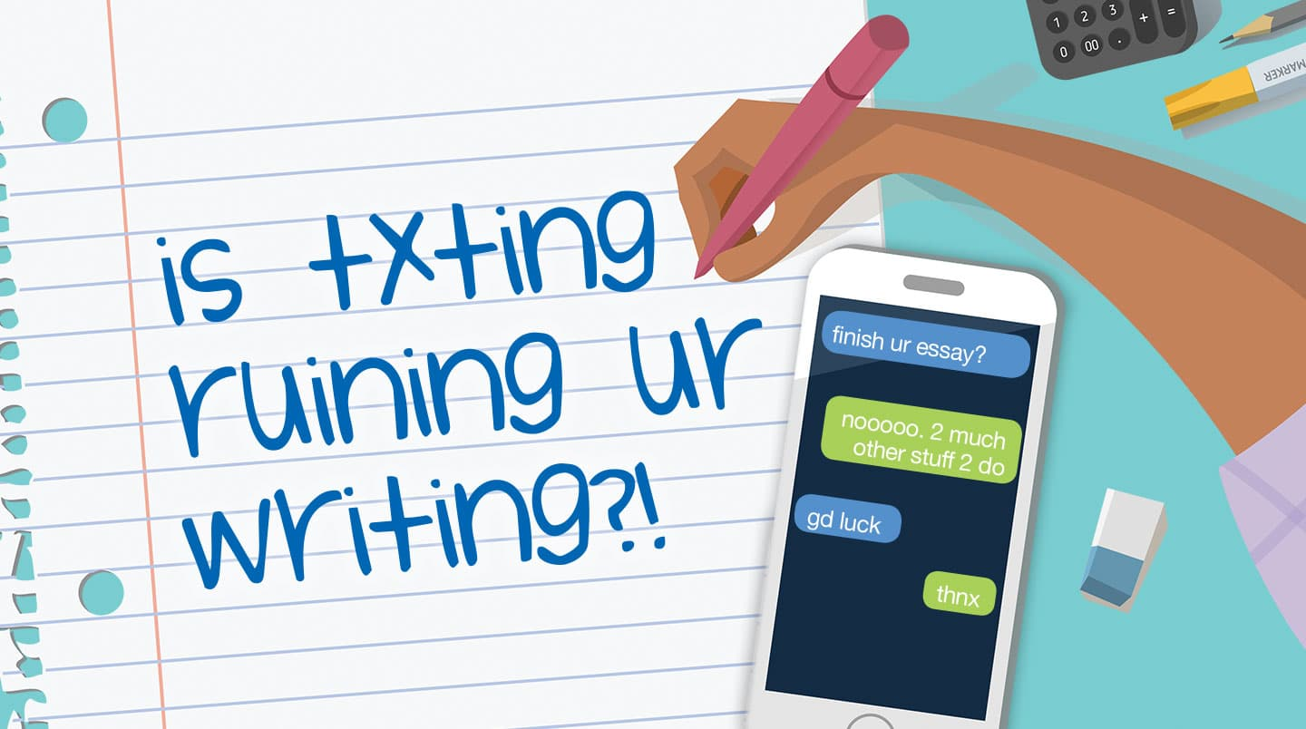 cartoon art of a kid's hand writing in textisms while reading messages on a cell phone