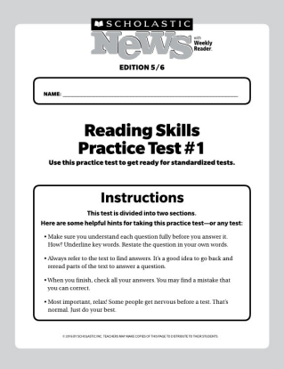 Reading Skills Practice Tests Scholastic News 56